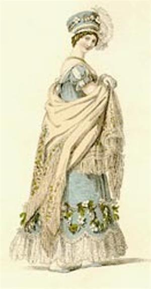 Дама с шалью - модная картинка начала 19 века